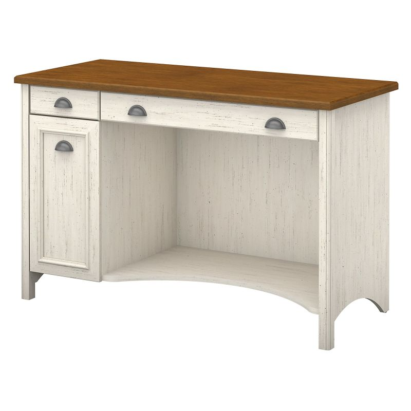 WC53218-03 Desk with Drawers in Antique White and Tea Maple