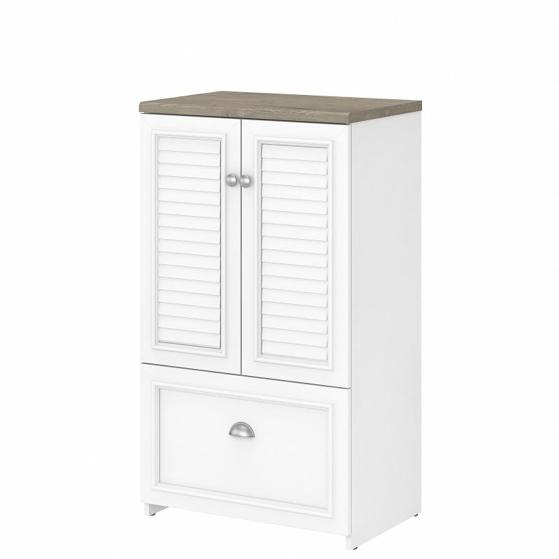 WC53680-03 Bush Furniture Fairview 2 Door Storage Cabinet with File Drawer in Pure White and Shiplap Gray