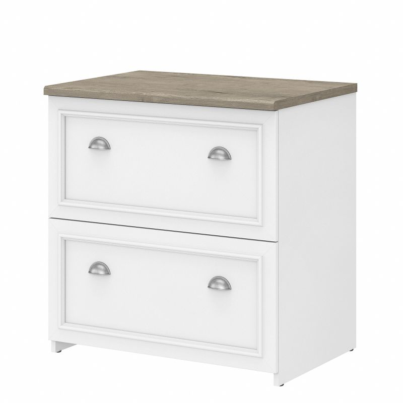 WC53681-03 Bush Furniture Fairview 2 Drawer Lateral File Cabinet in Pure White and Shiplap Gray