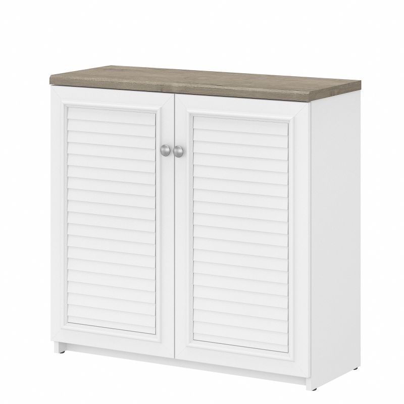 WC53696-03 Bush Furniture Fairview Small Storage Cabinet with Doors and Shelves in Pure White and Shiplap Gray