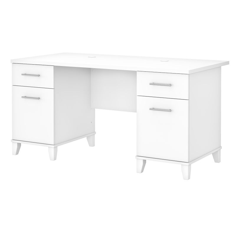 WC81928K 60W Office Desk with Drawers in White