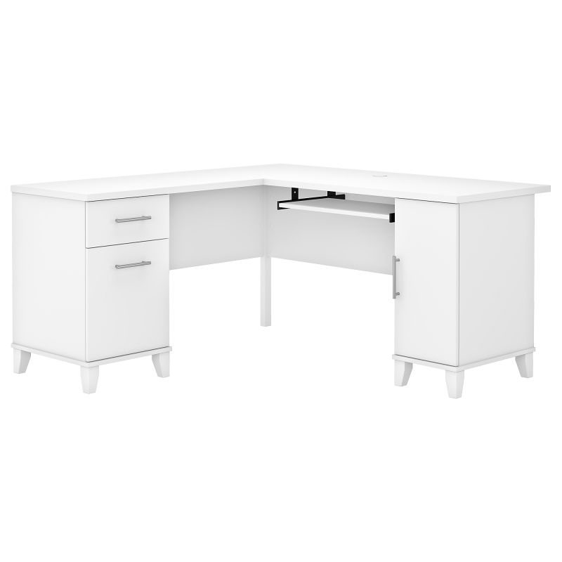 WC81930K 60W L Shaped Desk with Storage in White