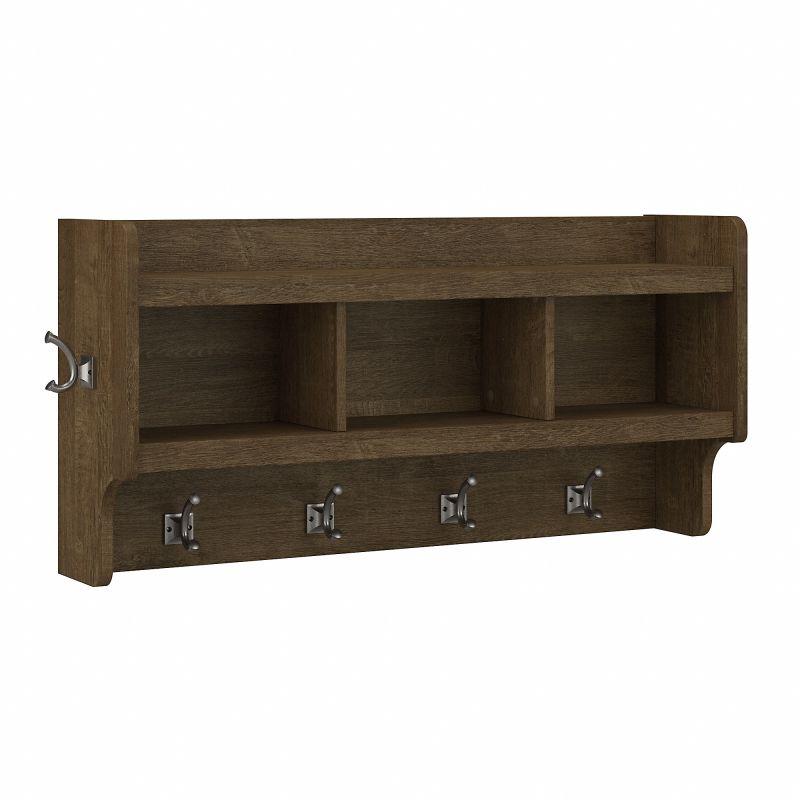 WDH340ABR-03 Woodland 40W Wall Mounted Coat Rack with Shelf in Ash Brown