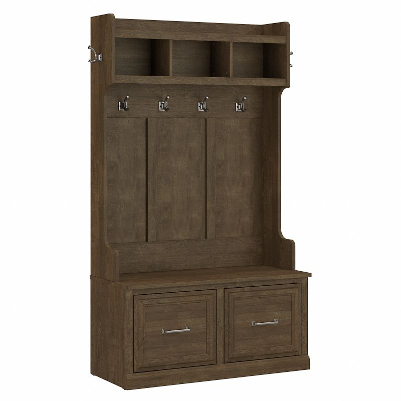 WDL001ABR Woodland 40W Hall Tree and Shoe Storage Bench with Doors in Ash Brown