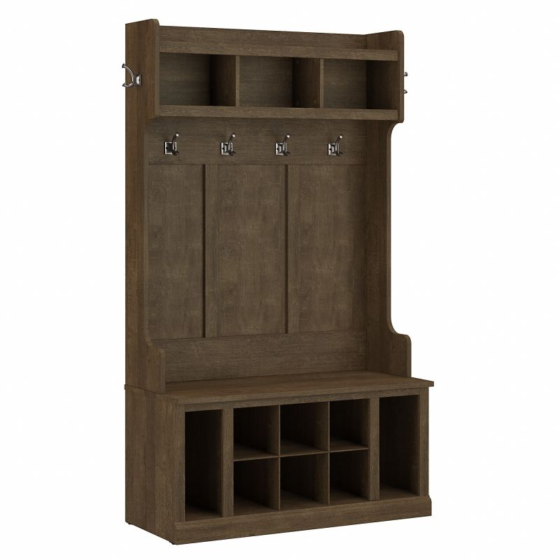 WDL002ABR Woodland 40W Hall Tree and Shoe Storage Bench with Shelves in Ash Brown