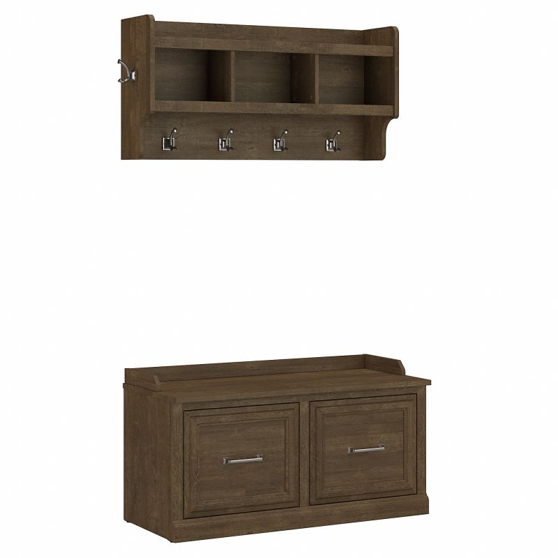 WDL003ABR Woodland 40W Shoe Storage Bench with Doors and Wall Mounted Coat Rack in Ash Brown