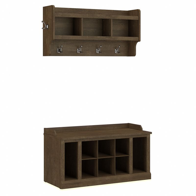 WDL004ABR Woodland 40W Shoe Storage Bench with Shelves and Wall Mounted Coat Rack in Ash Brown