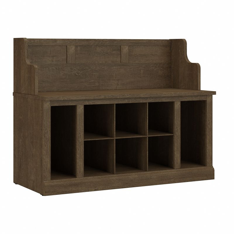 WDL006ABR Woodland 40W Entryway Bench with Shelves in Ash Brown