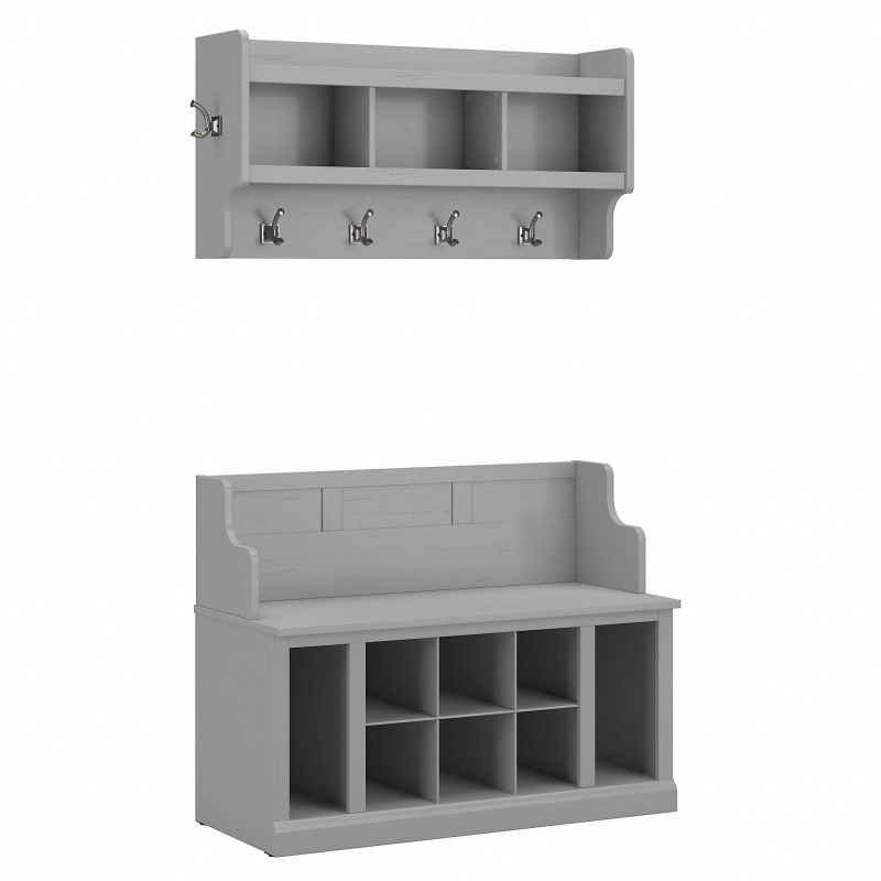 WDL010CG Woodland 40W Entryway Bench with Shelves and Wall Mounted Coat Rack in Cape Cod Gray
