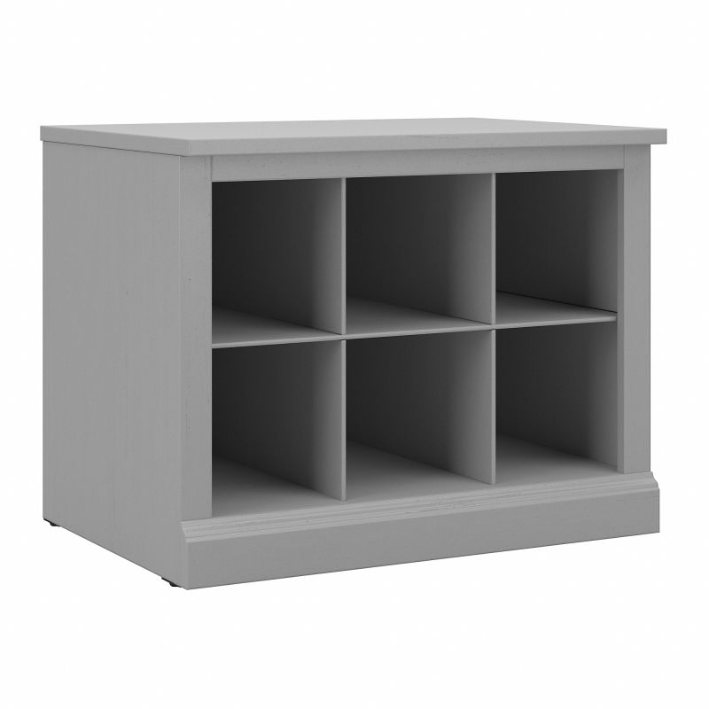 WDS224CG-03 Woodland 24W Small Shoe Bench with Shelves in Cape Cod Gray