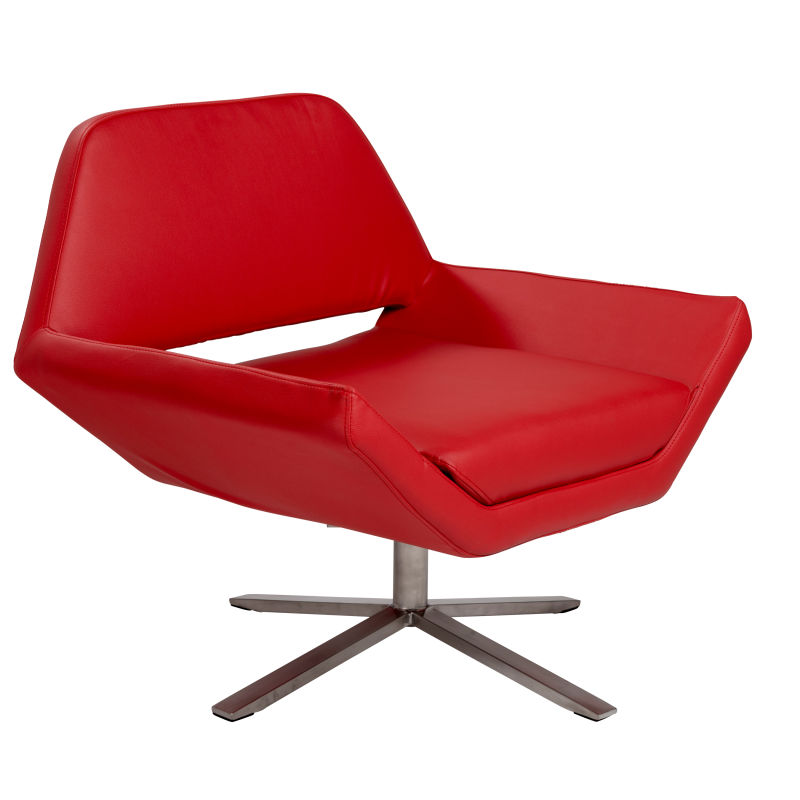 38698RED Carlotta Lounge Chair in Red with Brushed Stainless Steel Base