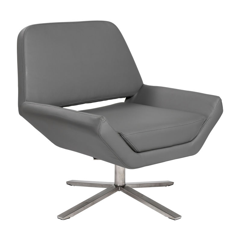 38699DKGRY Carlotta-S Lounge Chair in Dark Gray with Brushed Stainless Steel Base