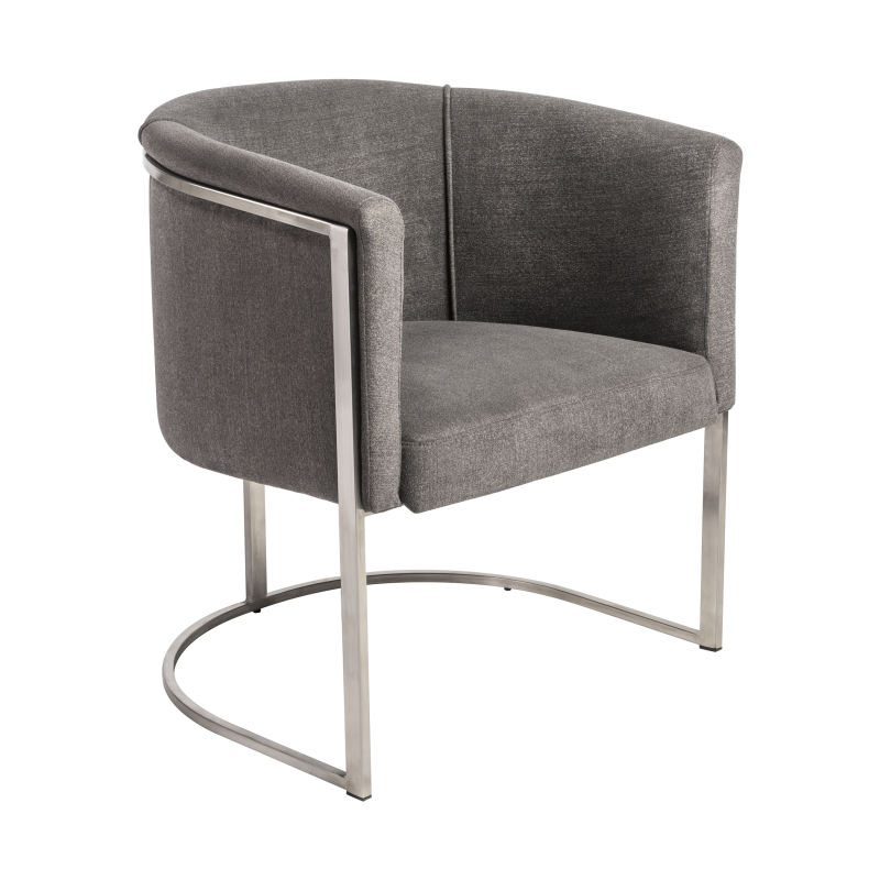 39685GRY Marrisa Lounge Chair in Gray Fabric with Brushed Stainless Steel Base