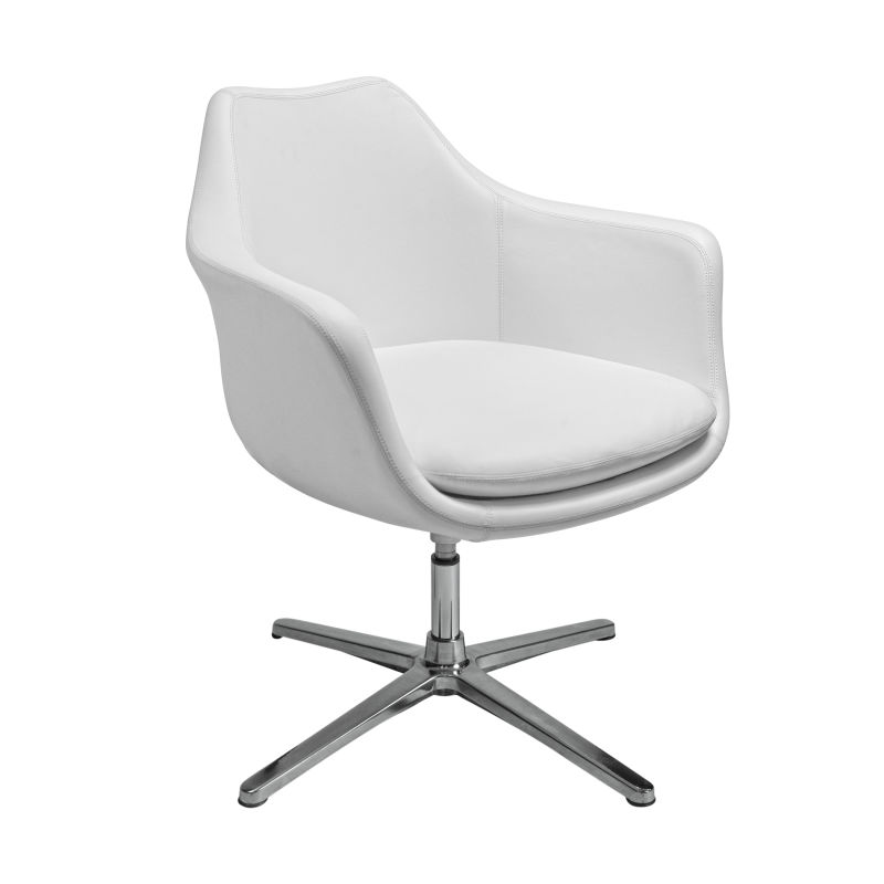 90450WHT Giovana Lounge Chair in White with Polished Aluminum Base