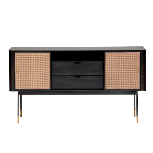 "94216BLK Miriam 59"" Sideboard in Black with Natural Wicker"