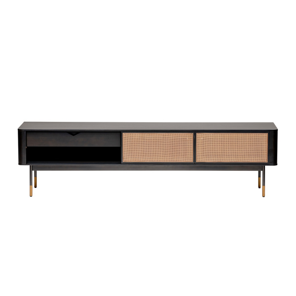 "94218BLK Miriam 71"" Media Stand in Black with Natural Wicker"