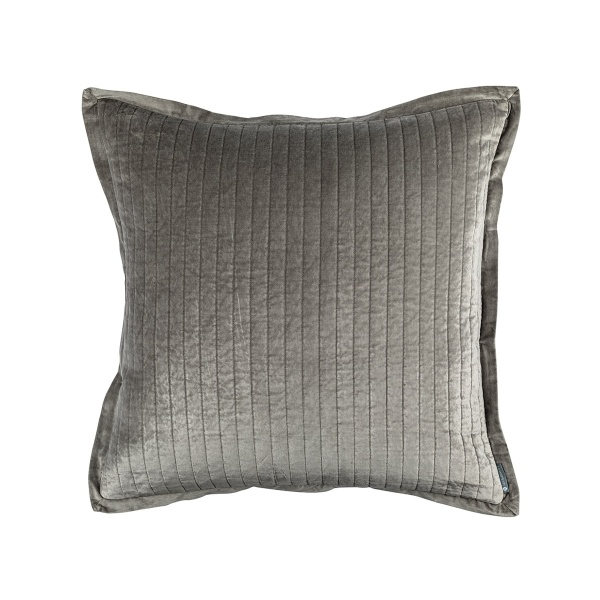 Aria Quilted Euro Pillow Light Grey Matte Velvet 26x26 (Insert Included)