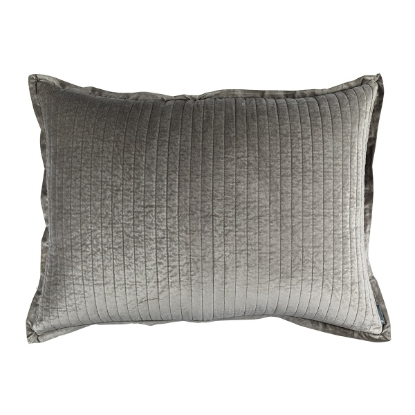 Aria Quilted Luxe Euro Pillow Lt. Grey Matte Velvet 27x36 (Insert Included)