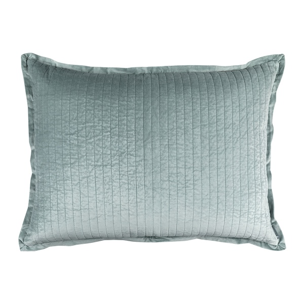Aria Quilted Luxe Euro Pillow Sky Matte Velvet 27x36 (Insert Included)