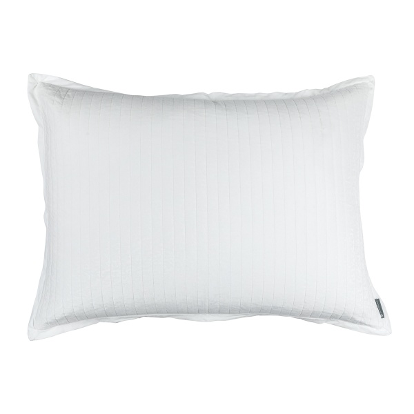 Aria Quilted Luxe Euro Pillow White Matte Velvet 27x36 (Insert Included)