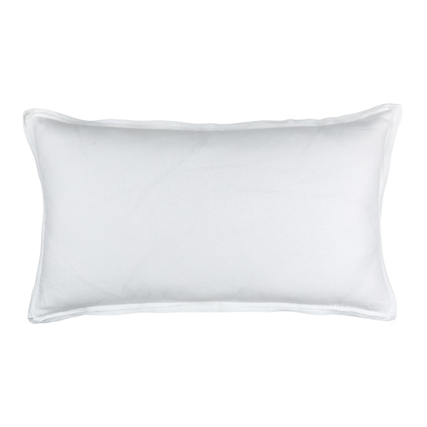 Bloom King Double Flange Pillow White Linen 20x36 (Insert Included)