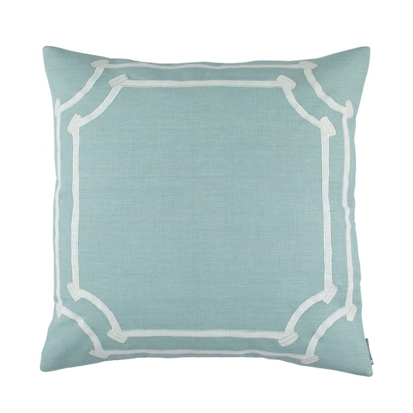 Angie Euro Pillow Spa Linen / White Linen Appliqué 28x28 (Insert Included)
