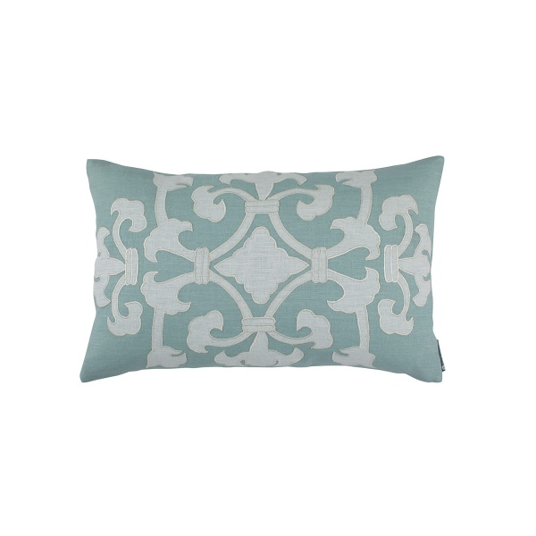 Angie Sm Rect Pillow Spa Linen / White Linen Appliqué 14x22 (Insert Included)