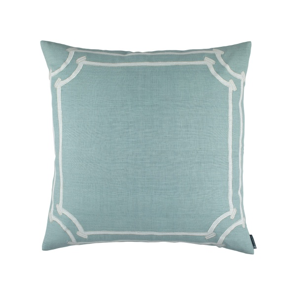 Angie Square Pillow Spa Linen / White Linen Appliqué 24x24 (Insert Included)