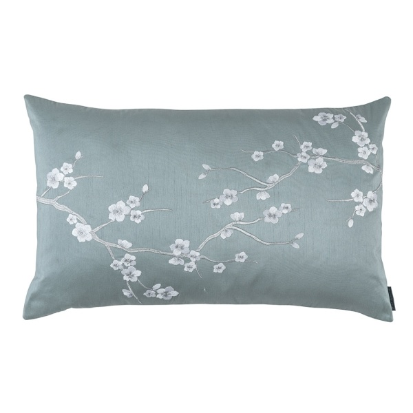 Blossom Lg Rect Pillow Blue Poly Silk / Silver Embroidery 18x30 (Insert Included)
