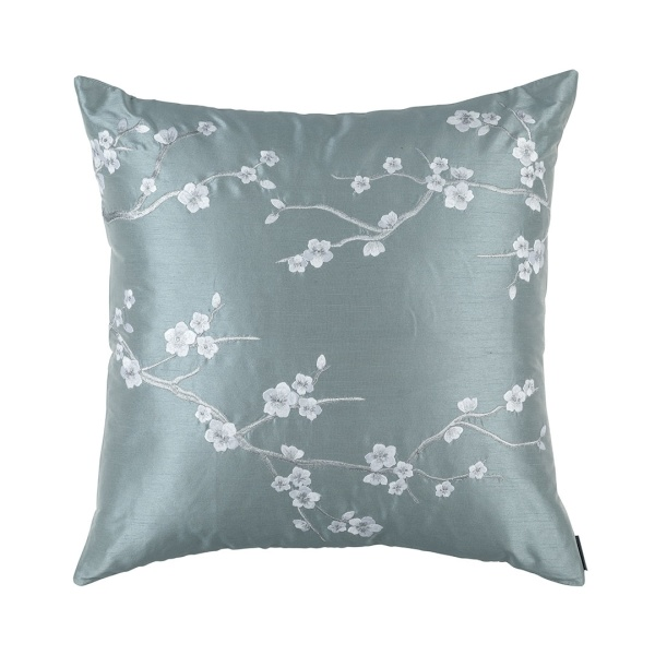 Blossom European Pillow Blue Poly Silk / Silver Embroidery 28x28 (Insert Included)