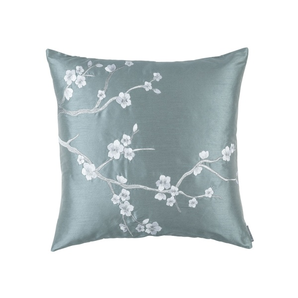 Blossom Square Pillow Blue Poly Silk / Silver Embroidery 24x24 (Insert Included)