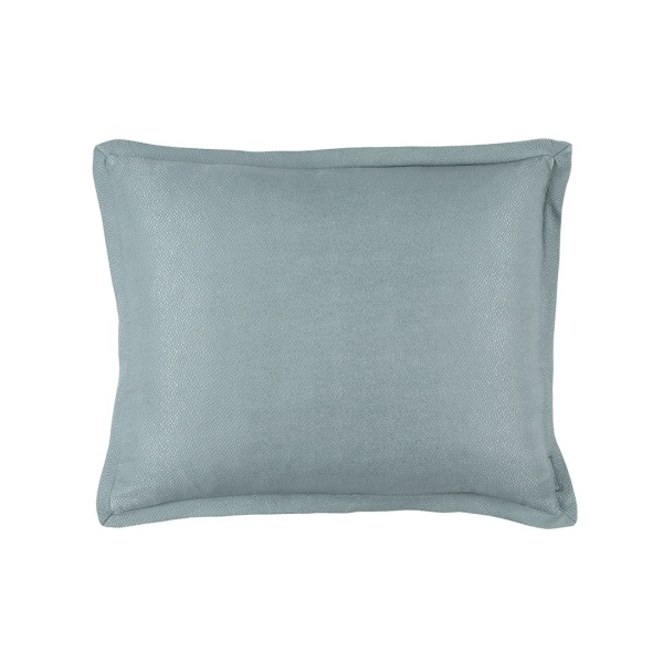 Gia Standard Pillow Blue Cotton & Silk 20x26 (Insert Included)