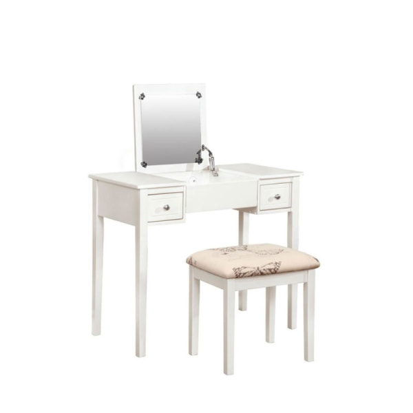 White Butterfly Vanity and Stool