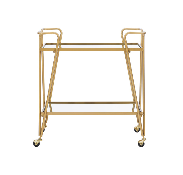 AJUBAR4GLDKD01 Gold Mid-Century Bar Cart