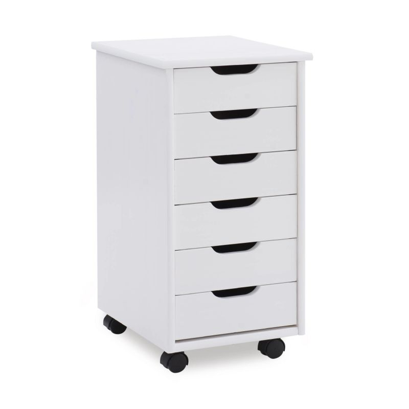 CT40WHT01 Cary Six Drawer Rolling Storage Cart, White Wash