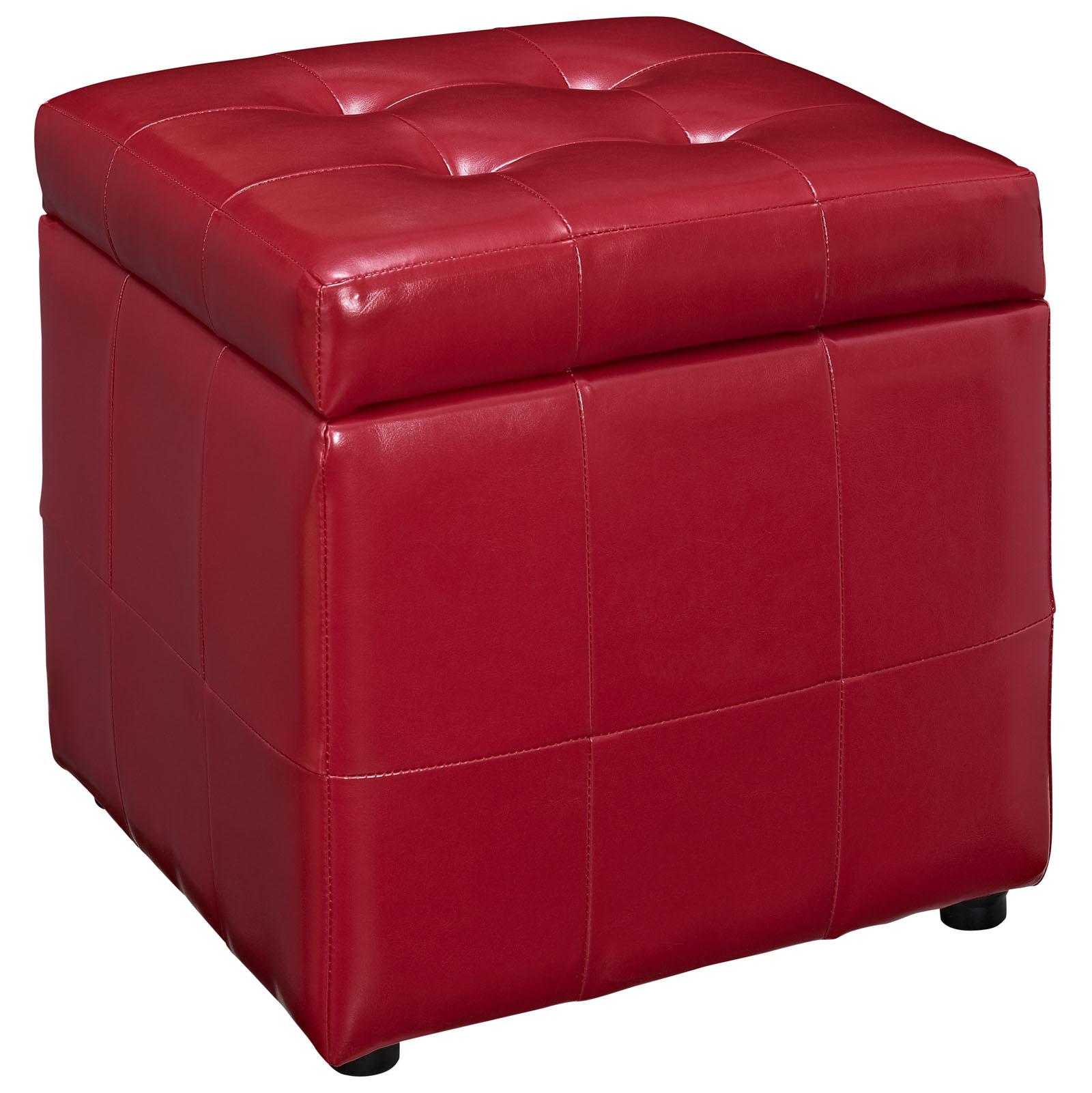 Volt Storage Upholstered Vinyl Ottoman Red