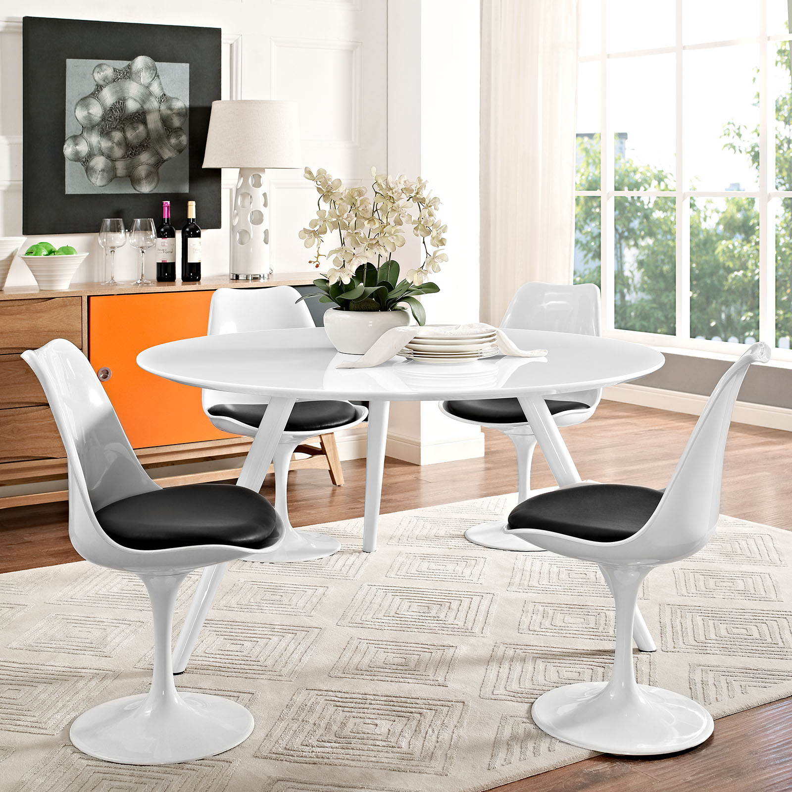 "Wood Round Dining Table: Lippa 54"" Round Wood Top Dining Table With Tripod Base White"
