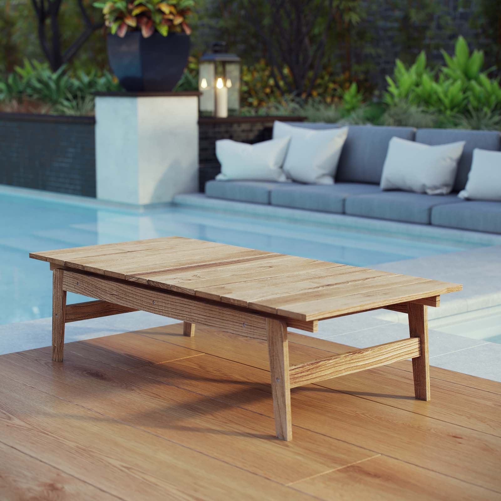 Bayport Outdoor Patio Teak Coffee Table Natural