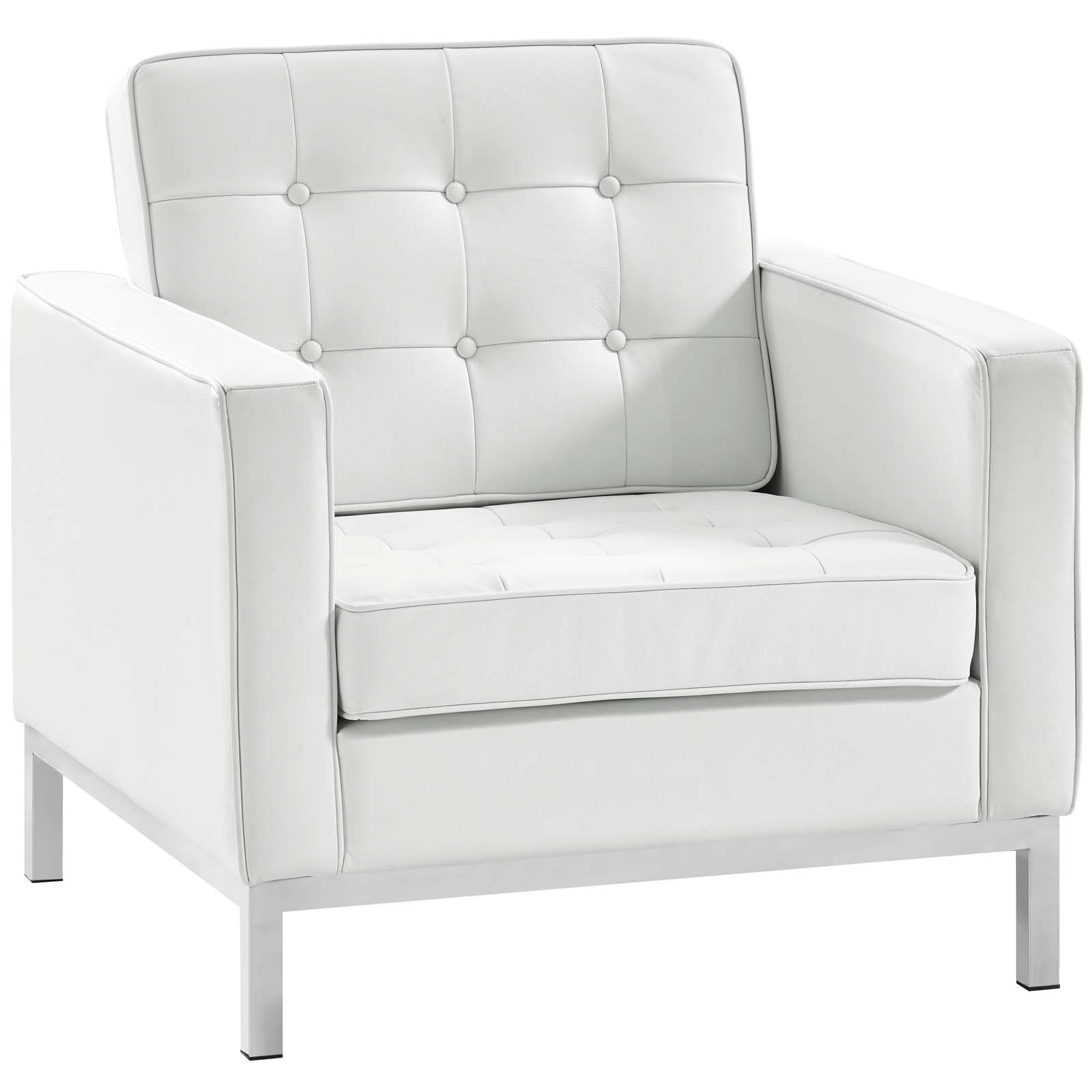 Loft Leather Armchair Cream White
