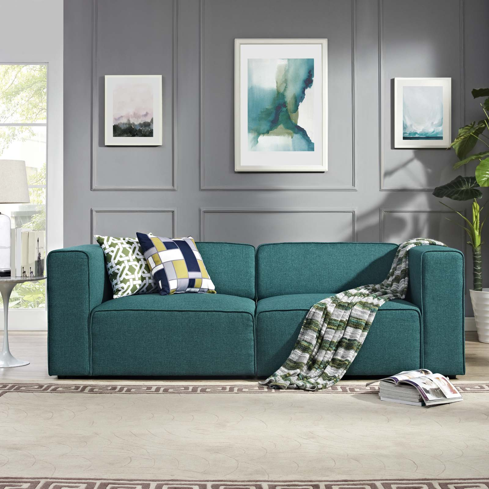 Superb Mingle 2 Piece Upholstered Fabric Sectional Sofa Set Teal Inzonedesignstudio Interior Chair Design Inzonedesignstudiocom