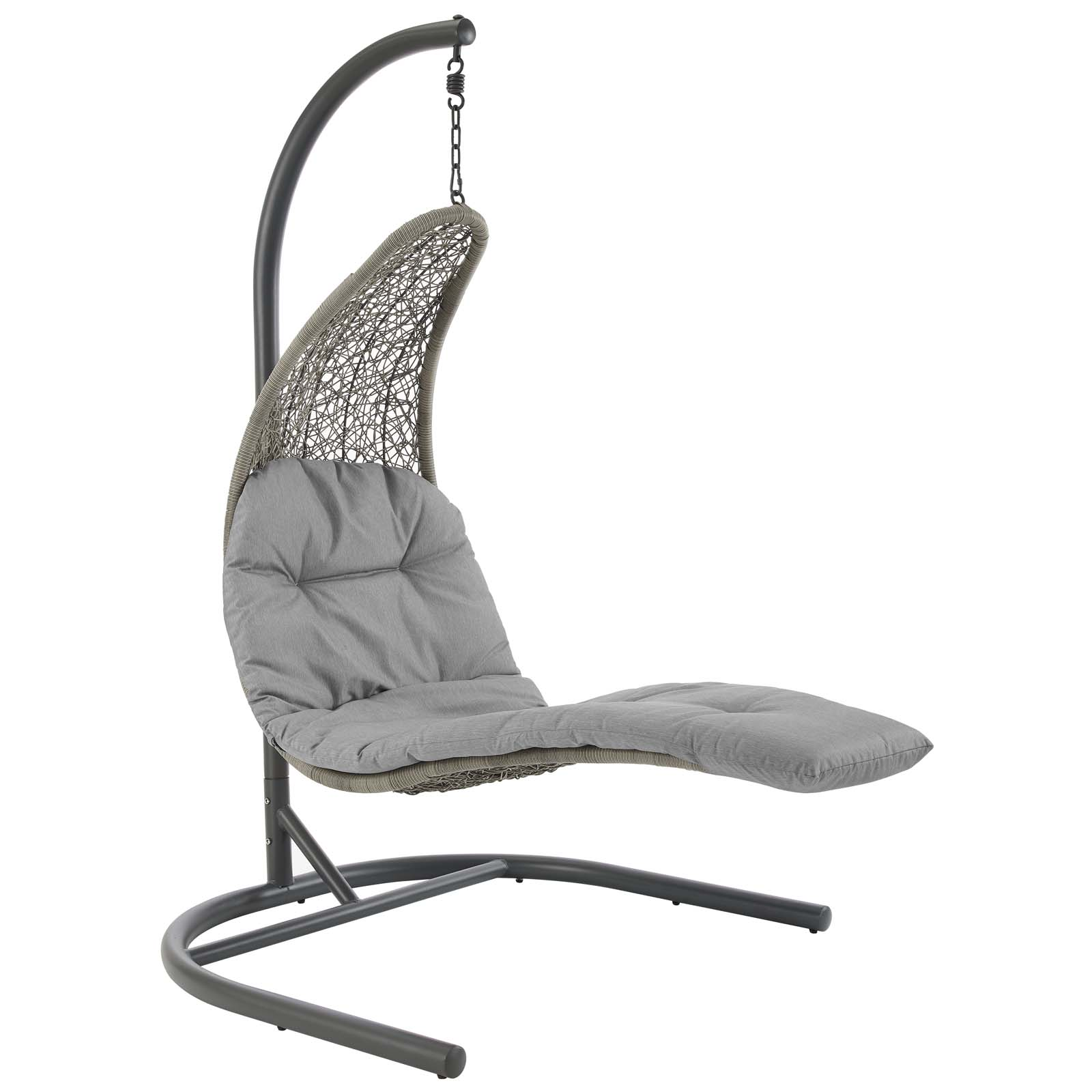Escape To A Place Of Relaxation With The Landscape Outdoor Patio Hanging Chaise Lounge Swing Chair Wred Textured Synthetic Rattan Light Gray And