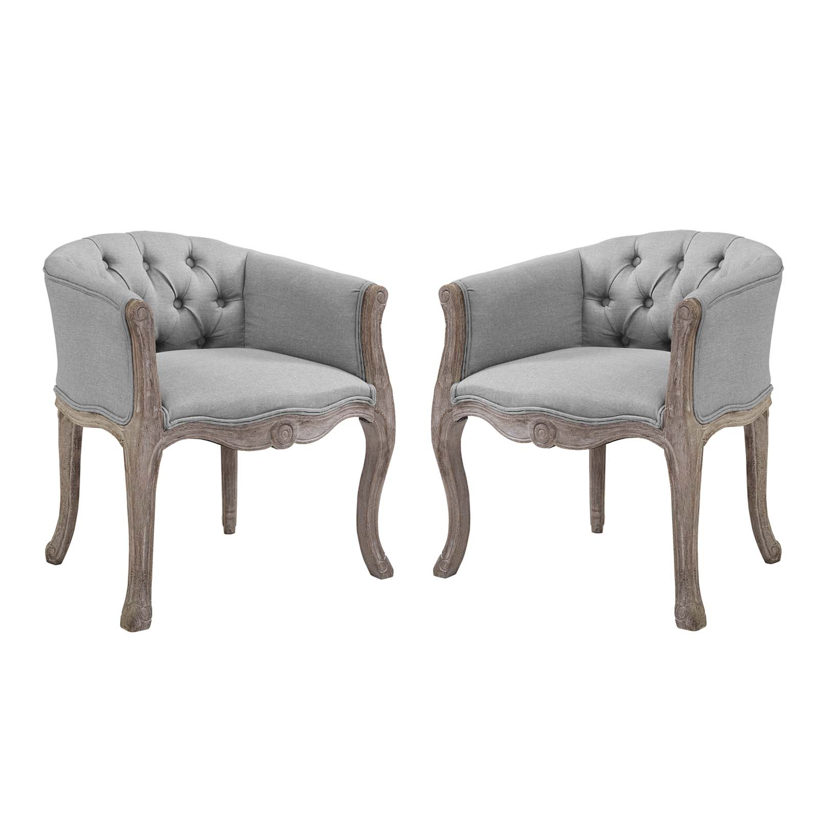 Crown Vintage French Upholstered Fabric Dining Armchair ...