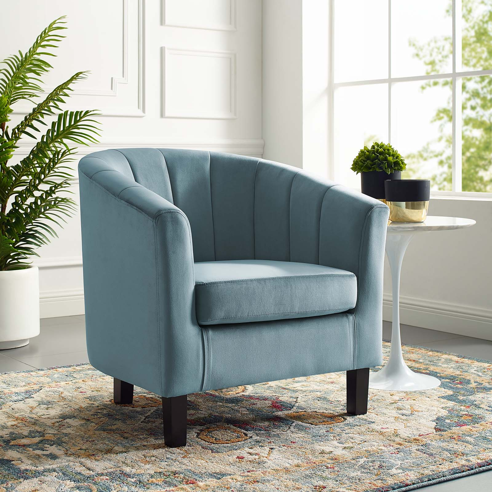 Prospect Channel Tufted Upholstered Velvet Armchair Light Blue