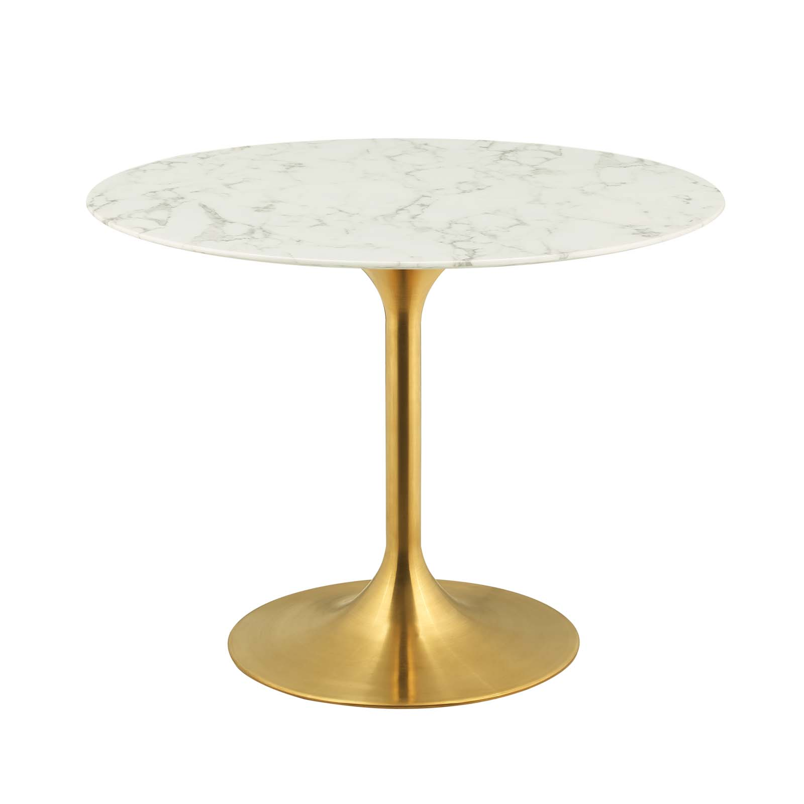 Lippa 40 Quot Round Artificial Marble Dining Table Gold White
