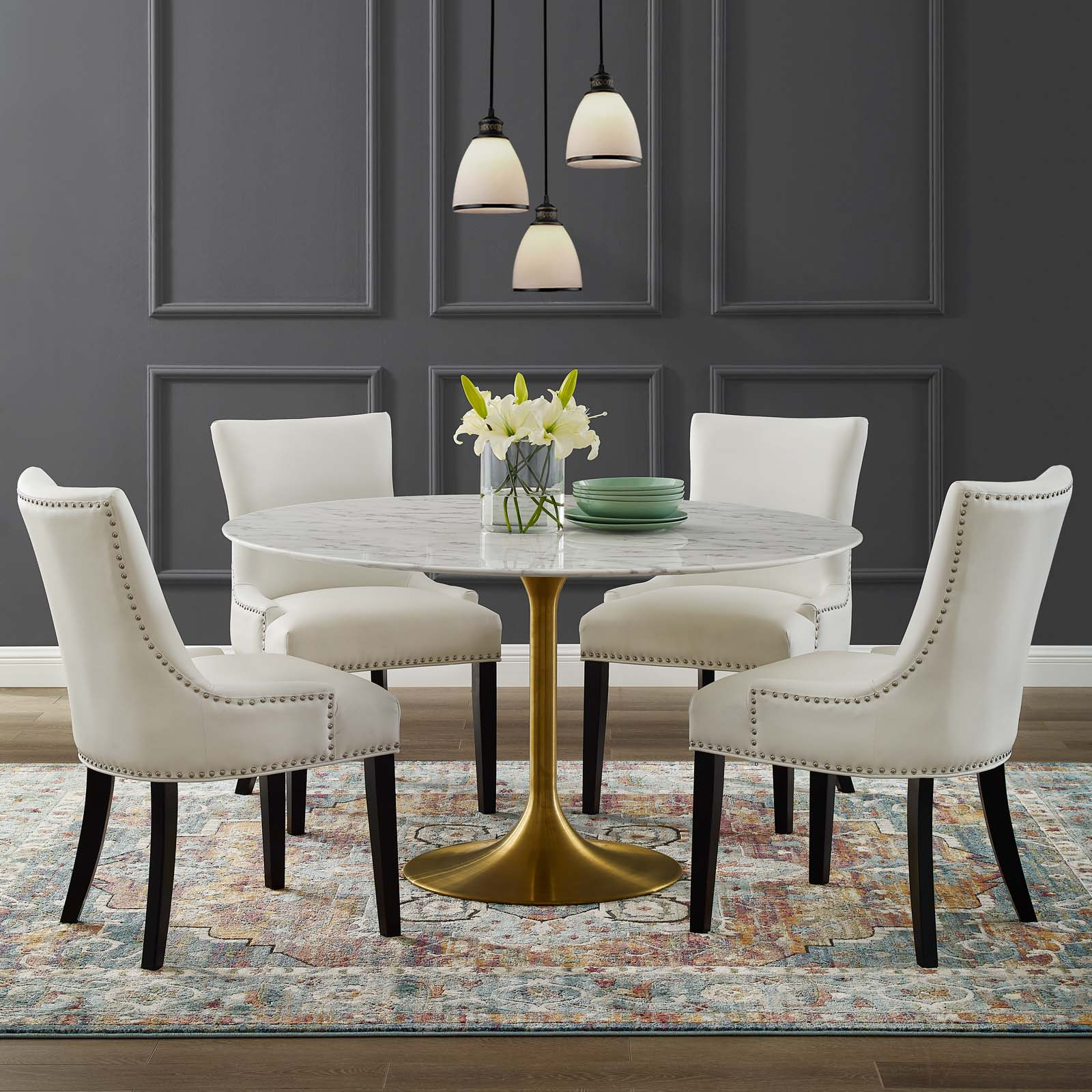 Lippa 54 Quot Round Artificial Marble Dining Table Gold White