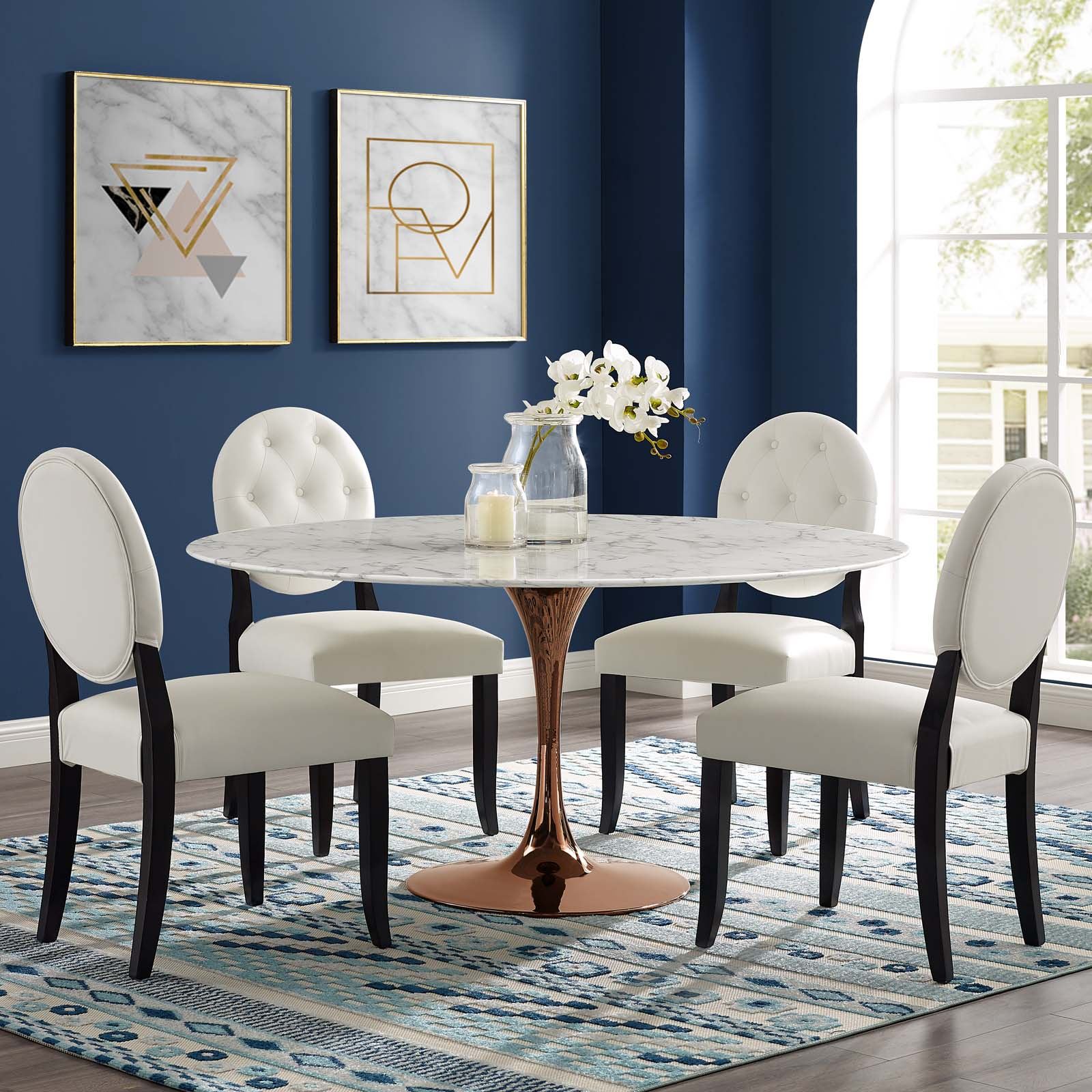 Lippa 60 Quot Round Artificial Marble Dining Table Rose White