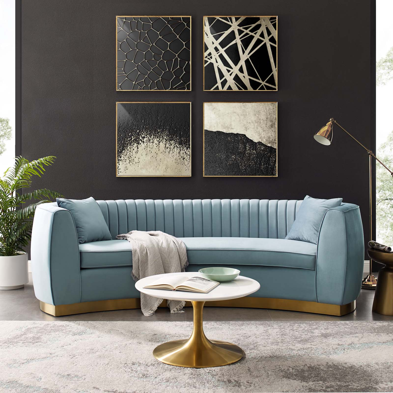 Enthusiastic Vertical Channel Tufted Curved Performance ...
