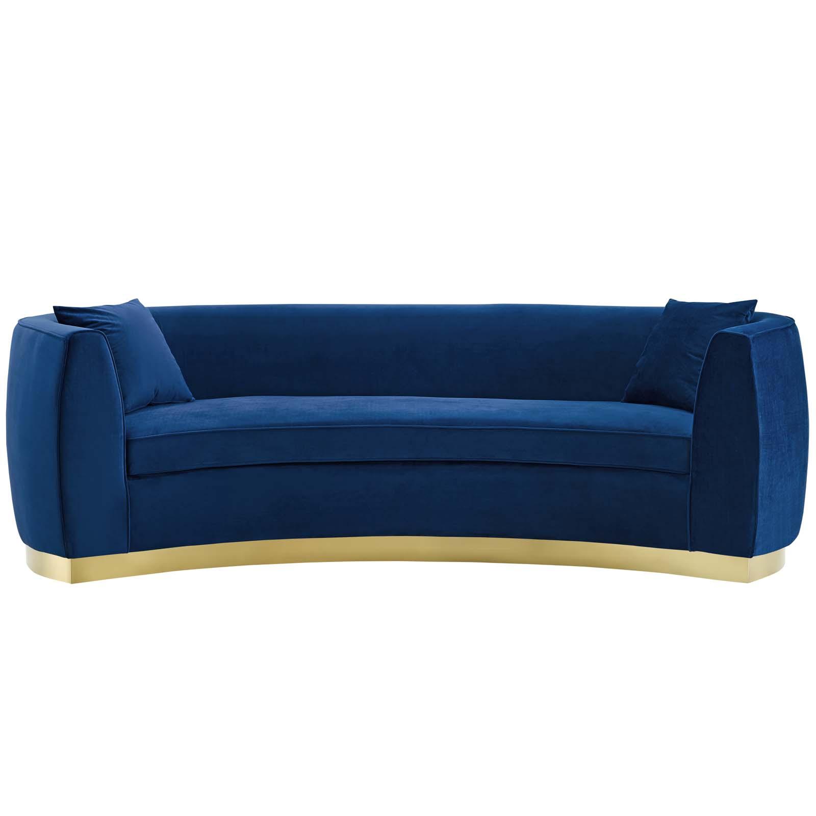Resolute Curved Performance Velvet Sofa Navy