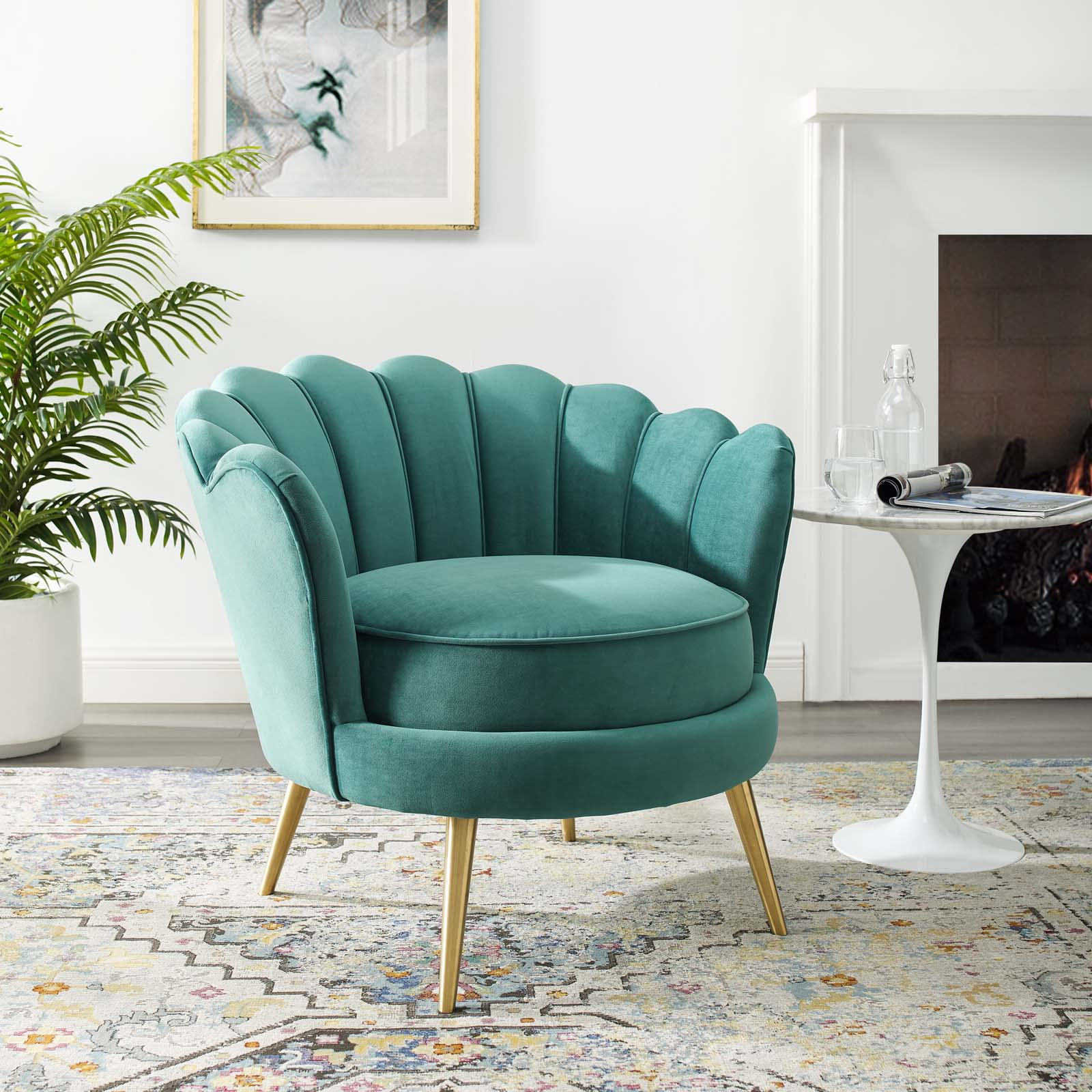 Admire Scalloped Edge Performance Velvet Accent Armchair Teal