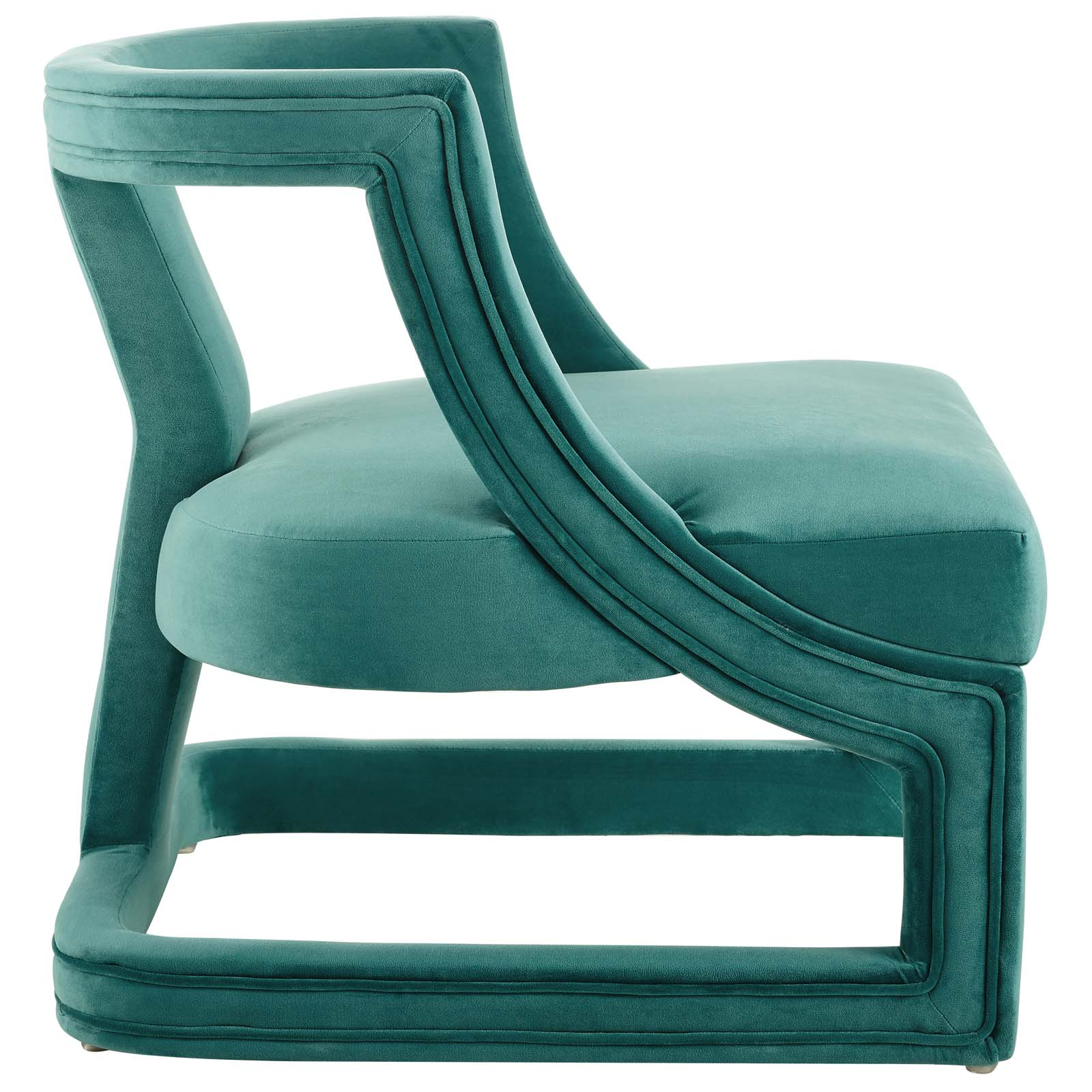 Requisite Accent Lounge Performance Velvet Armchair Teal